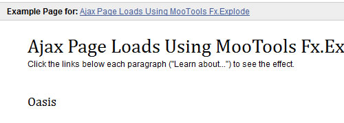 Page load effect using MooTools