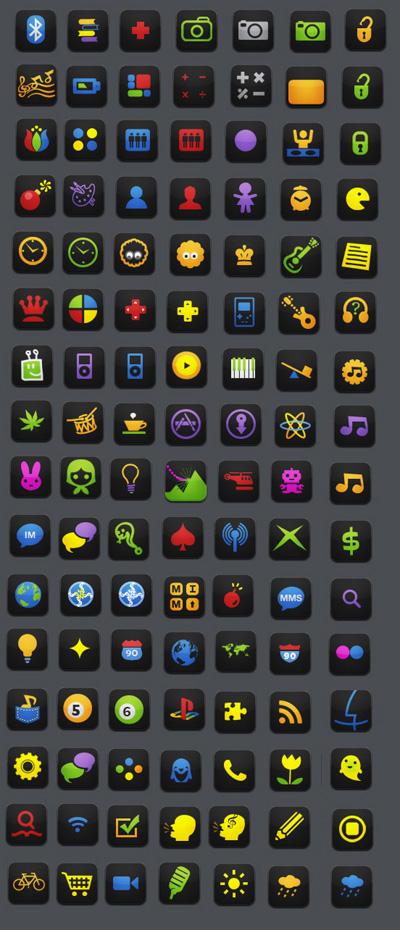 Black Neon Agua icons