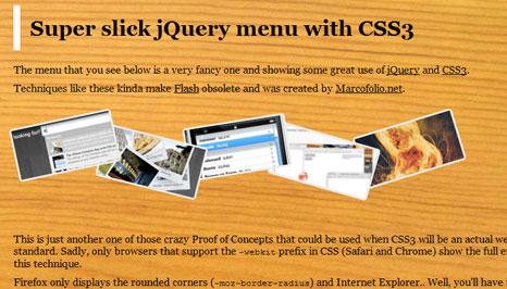 Super slick jQuery menu with CSS3